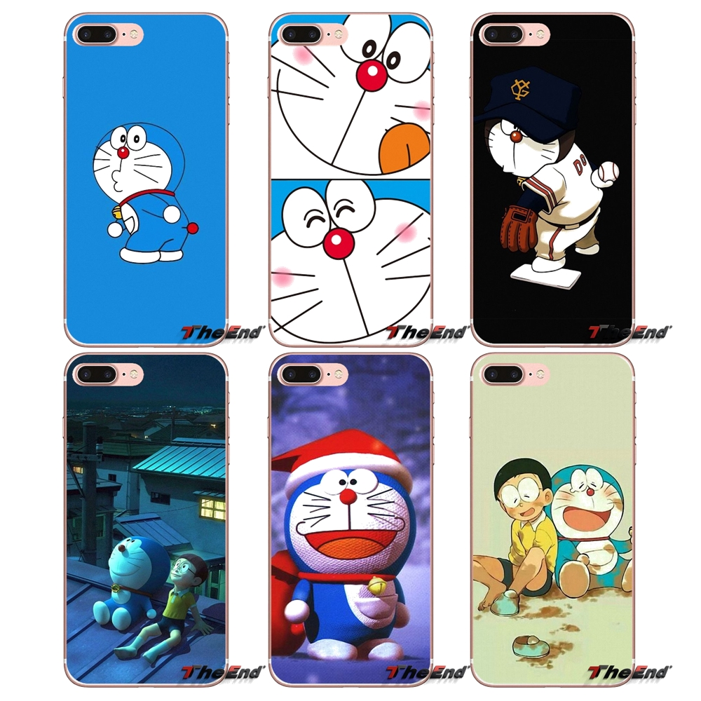 Чехол для iPhone X 4 4S 5 5S 5C SE 6 6S 7 8 Plus Samsung Galaxy J1 J3 J5 J7 A3 A5 2016 2017 Nobita Nobi Japan Doraemon Blue