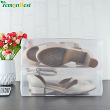 10Pcs Folding Clear Plastic Shoe Storage Boxes Organizer Containers Women Shoe Storage Stackable Dustproof Tidy Box Shoes Holder(China)