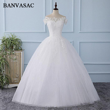 Buy BANVASAC 2018 Sequined Boat Neck Embroidery Ball Gown Wedding Dresses Lace Appliques Real Photos Bridal Dresses for $67.20 in AliExpress store