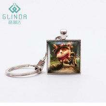 GLINDA HOT Game Kawaii Teemo Cute keychain LOL Keychains Fashion Popular Online Games League of Legend Keychain Stainless Steel