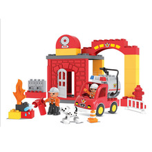 Baby Fire Engine Assemble toys Truck Model Children Toys Fire Engine Modeling Blocks Original City Simulation Block Baby Toy H30(China)