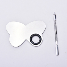 Butterfly Shape Pro Cosmetic Makeup Mixing Palette Tool Professional Stainless Steel Nail Art Ring Tools 1 Pcs
