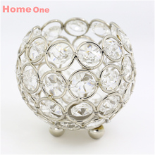 Gold candle holders 8cm crystal ball candlestick candle lantern candelabra home decorative wedding new year party decoration(China)