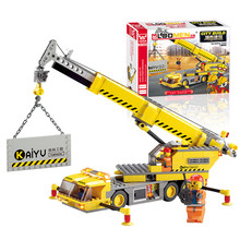 New year Gift For Kids!380pcs DIY City Engineering Team Assemble Toy crane Small Particles Building Blocks Early Educational Toy