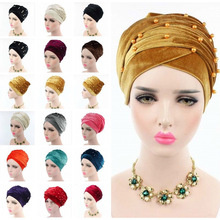 Women Luxury Beaded Pearled Velvet Long HeadWrap Bandanas Muslim Turban Indian Long Head Scarf Hijab