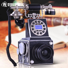 Phone phone home phone with Blue Screen Caller ID telephone telephone European antique camera Decoration home art rustic backlit(China)
