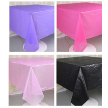 2pc Waterproof Table Cover Party Solid Round Plastic Tablecloths Ablecover Wedding Party Event Decorations Home Decor(China)
