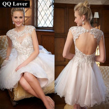 QQ Lover Hot Sale 2017 New Fashion Short Wedding Dress Sexy Backless Cap Sleeve Vestido De Noiva Beaded Lace Bridal Dress