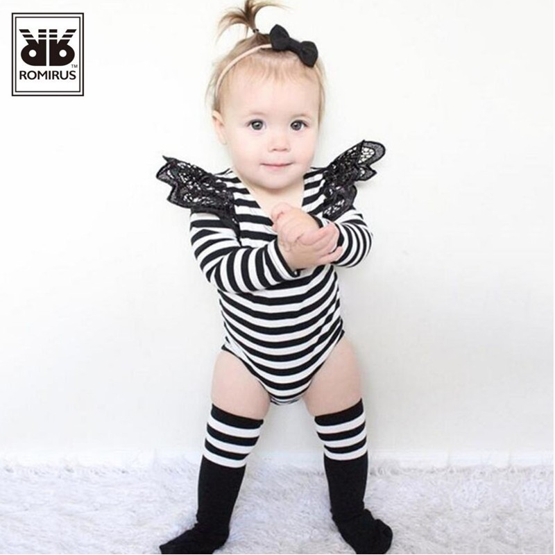 ROMIRUS Baby Clothing Brand New Spring Autumn Newborn Rompers Baby Girl Jumpsuit Long Sleeve Stripe Lace  Baby costume 0-24M<br><br>Aliexpress