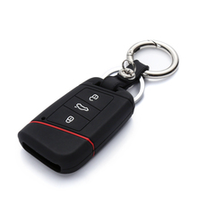 1pcs Car Remote Silicone Key Case For 2016 2017 VW Passat B8 Skoda Superb A7 Key Cover Key Fob Pocket Shell Skin Keychain Ring
