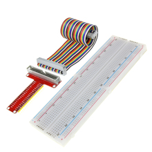 Smart Electronics Raspberry Pi 3 Model B GPIO Adapter Plate Gold Plug-in Version+MB-102 830 Points Breadboard +GPIO Cable Kit