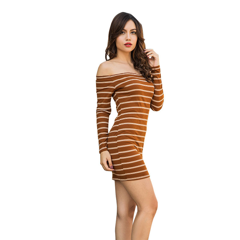 Yollmart New Arrival Women Dress Long Sleeves Bodycon Casual Woman Striped Pencil Dresses Sexy Slash Neck Slim Dress