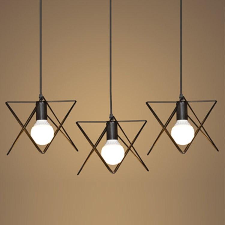 Modern Wrought Iron Triangle Pendant Light American Retro Industrial LOFT Bar Lamp Hanging Minimalst Geometric Fixtures110-240V<br>