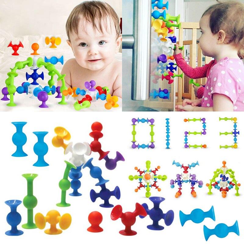 50Pcs//Sets Kids Sucker Cup Puzzle Educational Construction Toy Building Blocks