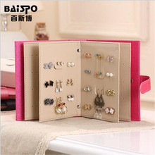 BAISPO Portable Jewelry Pu leather Stud Earrings collection book pattern portable jewelry display creative jewelry storage box(China)