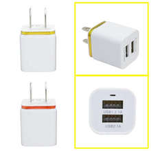 Del Different Color Home Travel Dual Port AC USB Wall Charger for iPhone for Samsung Galaxy Jun01(China)