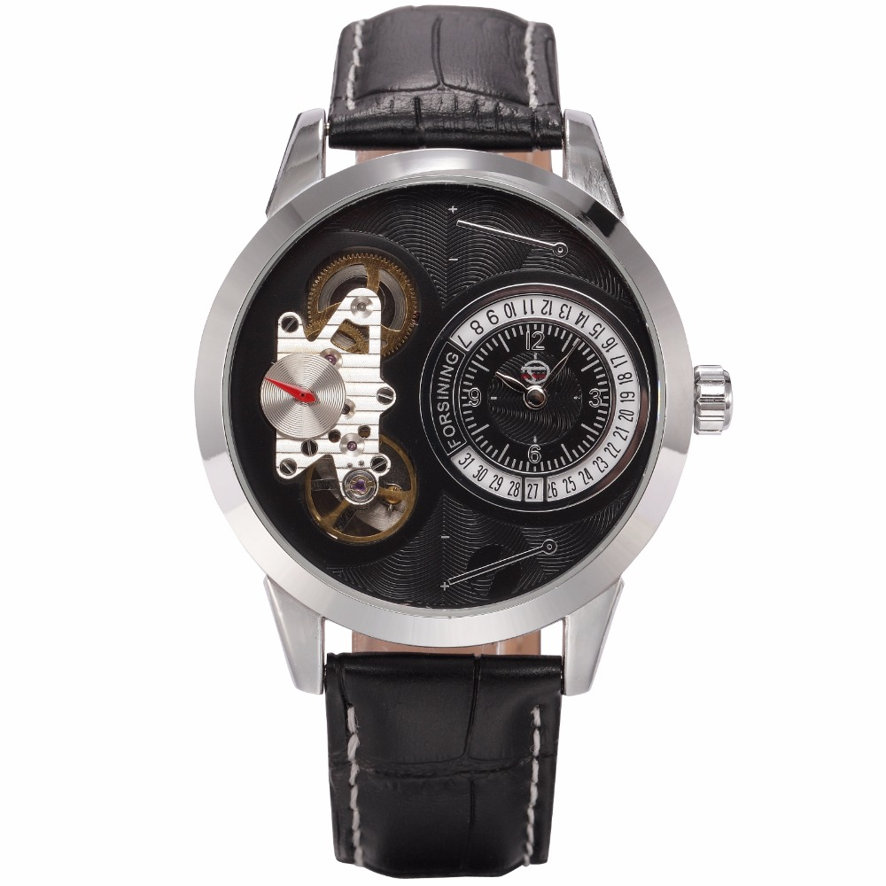 FORSINING Clock Men Silver-tone Case Black Dial Auto Date Display Leather Strap Fashion Male Wristwatch Mechanical Dual Movement<br>