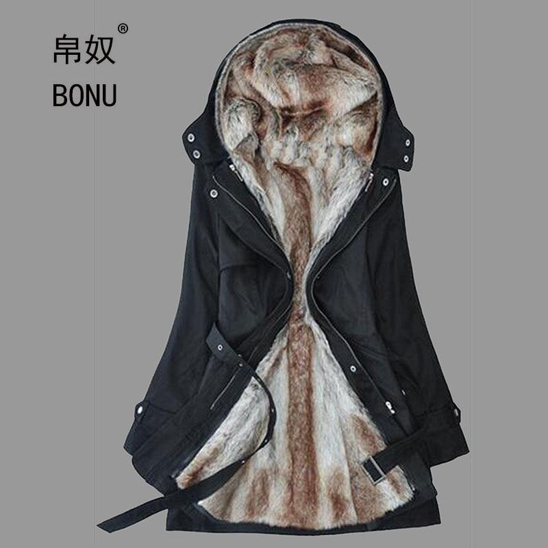BO NU 2017 New Winter Thicken Long Big Size Parka Two Way Wear Fur Coat Plus Size Winter Warm Jackets Women Hooded Fur CoatsÎäåæäà è àêñåññóàðû<br><br>