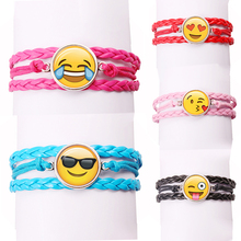 New fashion jewelry glass funny expressions bracelet with leather bracelet A variety of expressions Emoji(China)