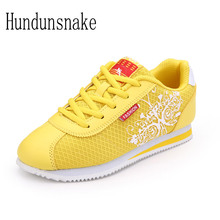 HUNDUNSNAKE 2017 Women Sneakers Ladies Sport Shoes Running Cheap Female Jogging Gold Air Mesh Breathable Krasovki H-082