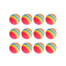 12Pcs/set Indoor Practice EVA Sponge Foam Balls Swing Golf Club Beginner Kids Training Aids Home Rainbow Stripe Golfball New