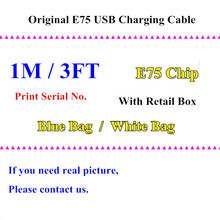 50pcs 100% Genuine Original From Factory E75 Chip 1m 3ft OD:3.0mm Data charger USB Cable For 6 6s 7 Plus SE 5 5S With Retail Box(China)