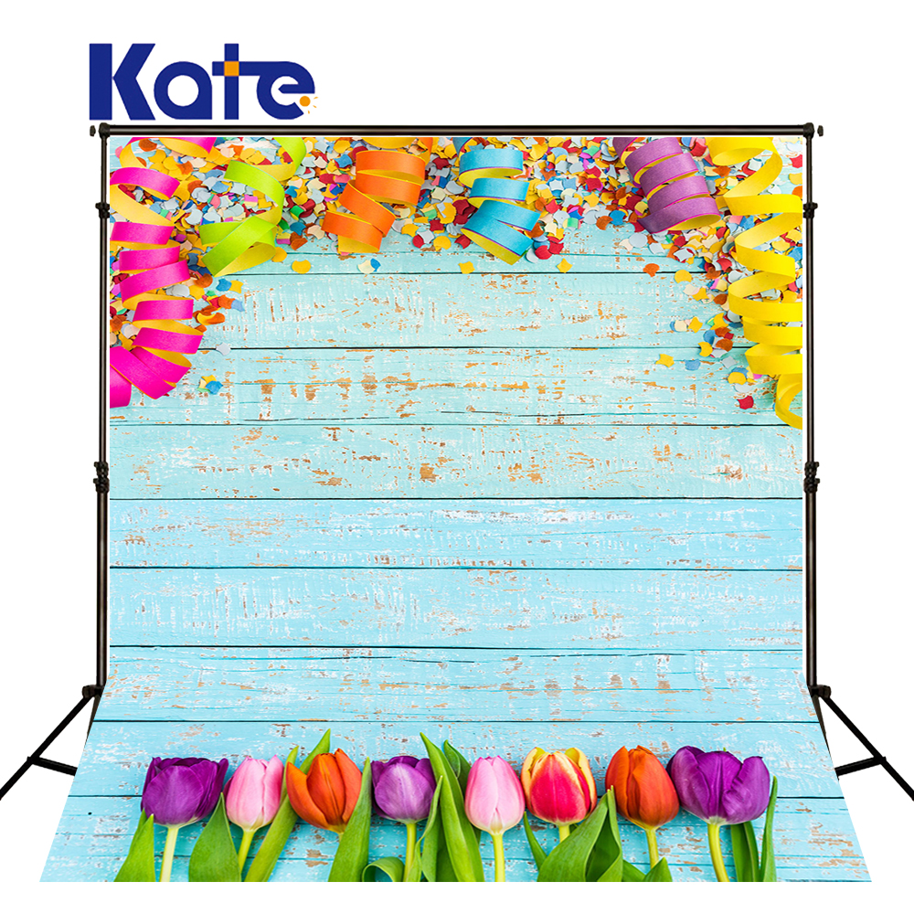 KATE Photography Background 5x7ft Blue Wood Backdrop Colorful Tulip and Ribbon Background Children Photo for Photocall Party<br>