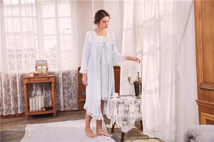 2018 New 2 Piece Robe Set Lace Chemise Full Slips with Victorian Robe Retro Palace Robe Gown Set GT046 16