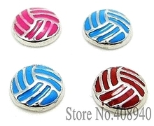 "10PCS!! 8MM ""Volleyball"" Floating charms Mix Color Zinc Alloy Floating lockets & Floating locket bracelet LSFC040*10(China)"