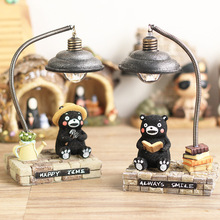 Novelty Japanese Cartoon Bear Small Night Light Resin Desktop Craft Decoration Lights Funny Birthday Gift Table Lamp