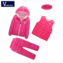 2016 Korean winter suit for children wear comfortable and warm 3 sets boys girls cotton padded suit children of foreign trade(China)