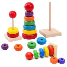 New Design Kids Baby Toy Wooden Stacking Ring Tower Educational Toys Rainbow Stack Up Learning Education Building Blocks(China)