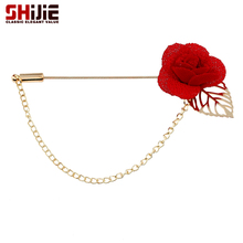 SHIJIE Lovely Handmade Silk Rose Flower Brooch Men Long Lapel Pins Red Black Blue Brooches for Women Wedding Jewelry Accessories(China)