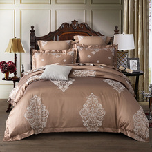 Luxury jacquard silk bed linen Gold red pink silver satin bedding set/bedspread queen king size duvet cover sheet set 4pcs