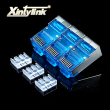 xintylink 50pcs blue rj45 connector cat6 8P8C metal shielded rj45 plug terminals network connector load bar split type modular(China)