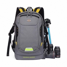 New Arrival Waterproof Camera Backpack Canvas Bag Case For DSLR SLR Shockproof For Canon Rebel For Nikon Gray+Rain Cover LI-970