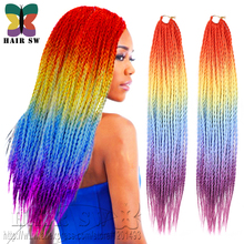 Senegal Zombie Twist Crochet Braid Hair four tone Ombre colorful rainbow Synthetic Hair afro styles Pre Twisted Hair Extensions