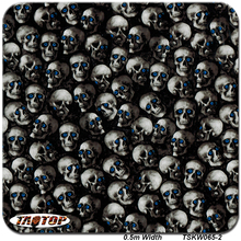 TSKH065-2 size 0.5m*10m new blue eyes skull popular Hydro Graphics film pva hydro dipping film Water Transfer Printing Film(China)