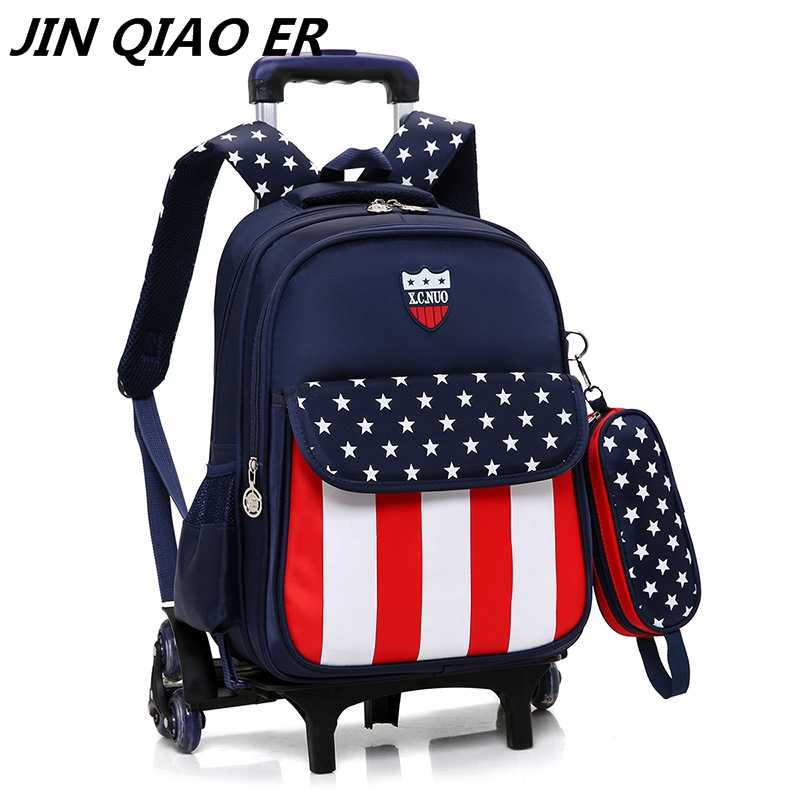 7ee2005615 Latest Removable Children School Bags With 3 Wheels Stairs Kids boys girls  Trolley Schoolbag Luggage Book