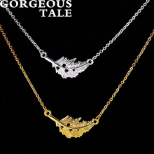 GORGEOUS TALE 10Pcs Leaf Charm Necklace Stainless Steel Chain Women Necklace Designer Jewellery Brands Wedding Gift