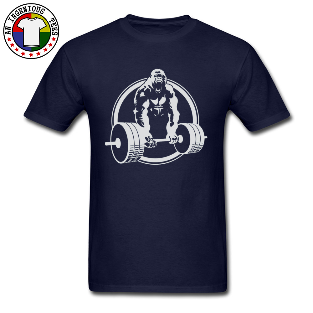 Casual Family Short Sleeve Printed T Shirts 100% Cotton O-Neck Men Tops & Tees Street Tshirts VALENTINE DAY Drop Shipping Gorilla Lifting Fitness Gym Tee 24451 navy