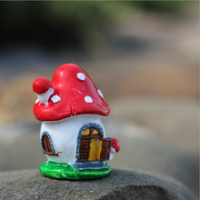 Red Mushroom Love House Resin Crafts Micro Landscapes DIY Dollhouse Bonsai Figurine Miniatures Fairy Garden Ornament Decorations(China)
