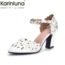 Buy KarinLuna 2018 High Large Size 33-43 Square High Heels Buckle Strap Woman Pumps Woman Pink Black Women Shoes for $27.89 in AliExpress store