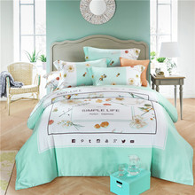 Luxury quality simple life happy home textile 100% natural silk 4pcs green Spring summer duvet cover bedsheet bedding set/B3597