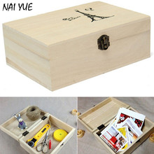 NAI YUE Home Storage Box Natural Wooden With Lid Golden Lock Postcard Home Organizer Handmade Craft Jewelry Case Wedding Gift