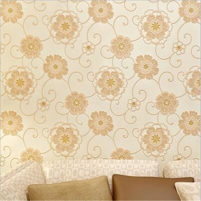 beibehang 3D embossed non-woven large flower wallpaper warm pastoral bedroom living room wall beauty nail salon wall paper<br>