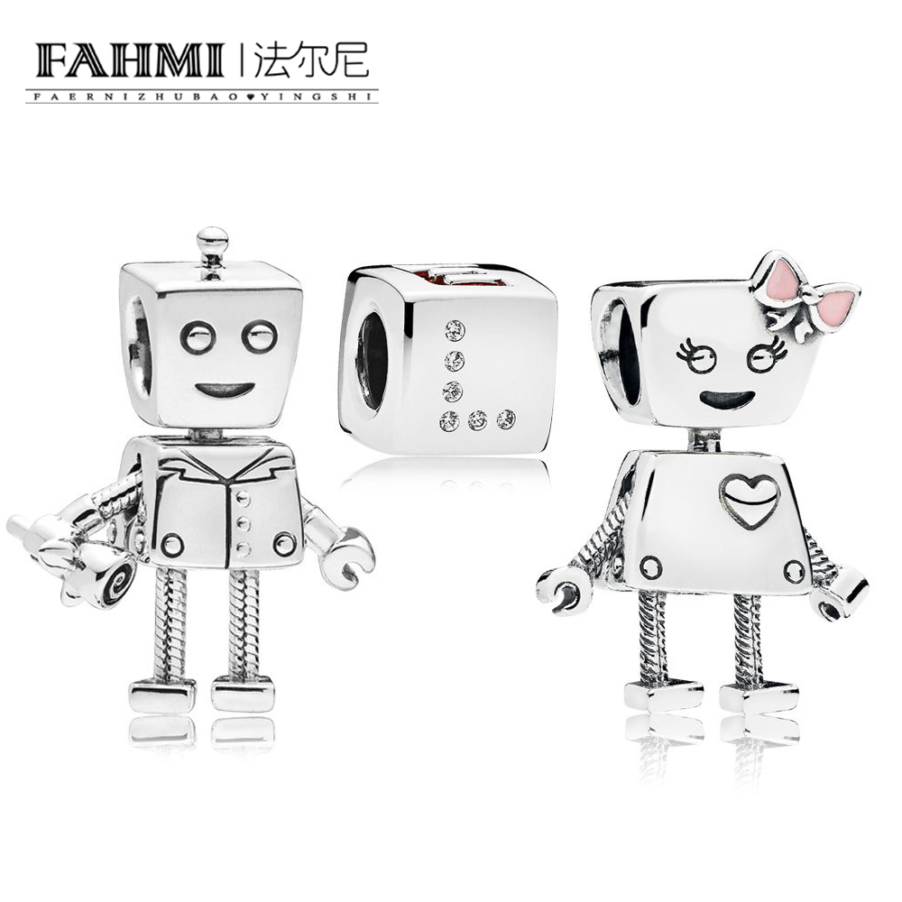 FAHMI 100% 925 Sterling Silver Valentine's Day Robot Love Beaded Charm Set Jewel Beads fine products Fashion Women's Jewelry