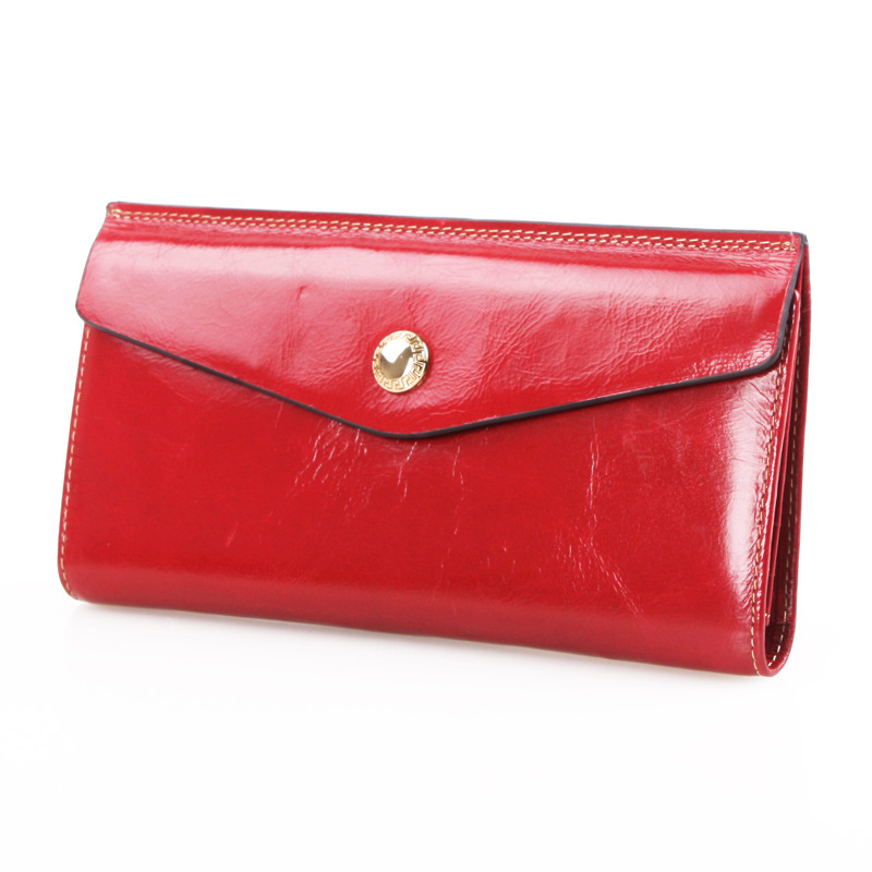 New Cowhide Leather Purse  Retro Oil Wax Long Multi Wallet Card Bag Ladies Envelope Genuine Leather Clutch Wallets<br>