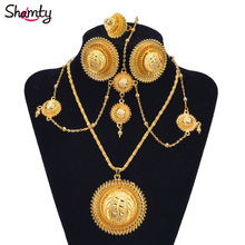 Shamty African Gold Sets Ethiopian Bridal Jewelry Habasha Style Wedding Pure Gold Color Set Nigeria Eritrea Kenya Hot A30034(China)