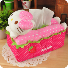 Cartoon Hello Kitty Tissue Pumping Sets Storage Box Cloth Tissue Box Cover Napkin Holder Room Car Sofa Tissue Case Home Decor